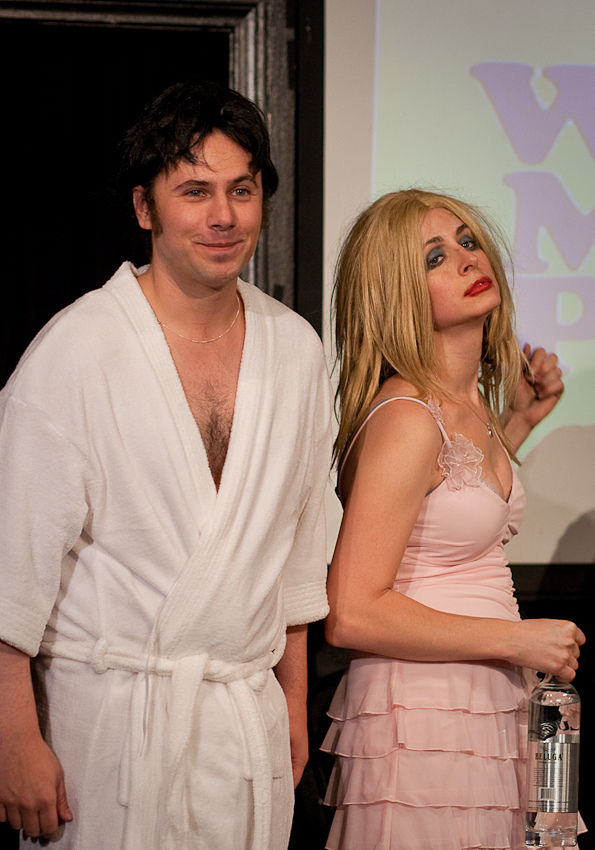"UCB-LA | The Midnight Show | 11.06.10 (clothed) Eric Moneypenny as Charlie Sheen and Heather Campbell as Courtney Love as contestants on ""Where's My Pants?"""