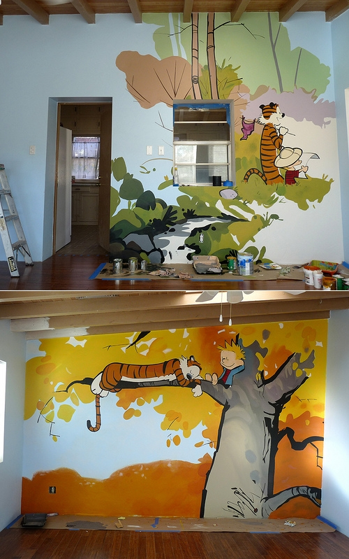 My kid is going to be subjected to this on their wall one day. thedailywhat: Magnificent Murals of the Day: S. Rivas painted a bunch of Calvin & Hobbes murals in the playroom of the Reynolds Home — a shelter for women and children in crisis. Rivas says: Working on this mural, staring at every minute detail of wattersons work, i gained a greater appreciation for [Bill Watterson's] beautiful creations. i tried to respect the original works as much as possible, giving my full attention to even the smallest detail and trying to get the colors just right. attempting to recreate the look of watercolors using only latex paint proved to be quite difficult. i hope i did 'em justice. [reddit.]