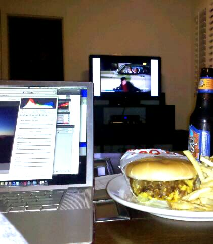 Welcome to my Saturday night. Pet sitting, photo editing, In N Out Cheeseburger animal style, and Back to the Future 2….