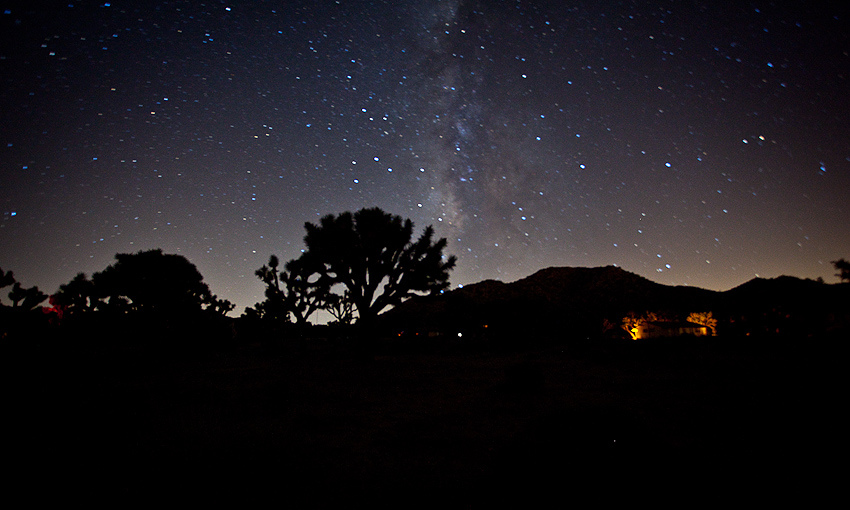 "joshua tree, ca | 08.13.10 I've always wanted to go to the desert for a meteor shower, and after a couple days notice, that finally happened. It was absolutely amazing…. I've never seen so many stars and meteors in my life… and I was so enamored by the view that 30 minutes in, I gave up on photos and just sat and enjoyed the view…. for about 5 hours until we left at 5am. The night consisted of a lot of silence punctuated by ""WHOA….."" and me saying ""GODDAMNIT"", then followed by a lot of the guys just saying ""HOLY SHIT…"" at the sight of NO meteors… just to give me some shit. Real funny assholes."