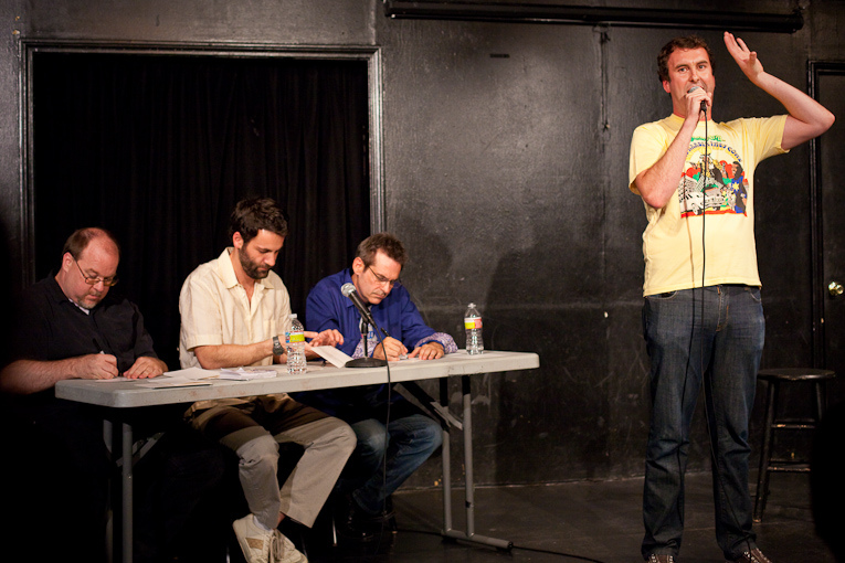 UCB-LA | Writers Room | 07.29.10    Matt Braunger talks about how ladies don't go to strip clubs to see balls in their face as a method of unwinding after work.  Out of all of Jimmy Pardo's shows at UCB, The Writers Room is hands down my favorite,  mainly because it turns into more of a roast of the comedians.   Pardo has 3 comedians come up and do their sets while the designated writers try to punch up, edit, or just plain tear apart the comedians material on stage. It sounds awful, but it's all in good fun… as far as I know.