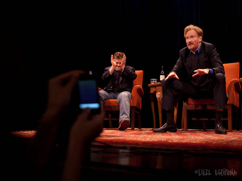 SF Sketchfest | Conan O'Brien | 07.17.10 A few key memories from the night… Running late to the show due to some flight delays, and walking in JUST as Conan is trying to fill our seats. Did I mention our seats were in the FRONT ROW CENTER. Having front row center seats guaranteed Conan's spit take getting into Valorie's mouth. She's probably impregnated now. Patton and Conan becoming increasingly drunk throughout the night after 2 bottles of wine between the both of them, then going half an hour longer to answer everyone's Q&A.  Patton leaving during Q&A to go to the restroom, and leaving his mic on. Intentionally. Being amazed at Conan's ability to take the most mundane of audience questions and making it interesting.  All in all, an amazing amazing night. Though I never made it to his tour, this more than made up for it…