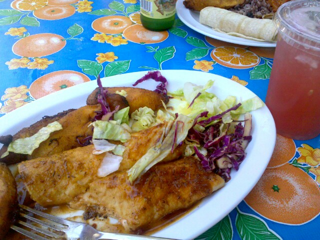 beach wear inspired a trip to cha cha chicken.   spicy jerk chicken enchiladas, plantains, and watermelon agua fresca