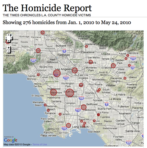 The Los Angeles Homicide Report , a fun companion to your  LAPD Crime Map .