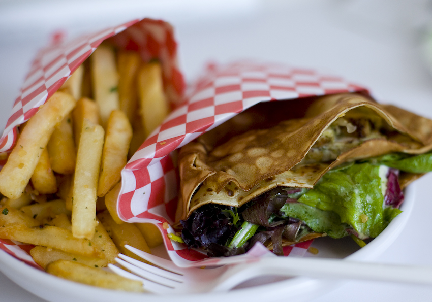 Crepe'n Around | 05.11.10 Chicken Pesto Crepe Combo with a side of Garlic Fries and a bottle of Cran-Grape juice. $9