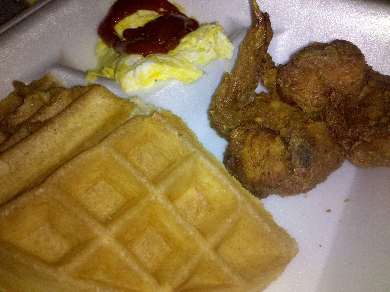 late night chicken, waffle, and oreo shake run from Pann's.