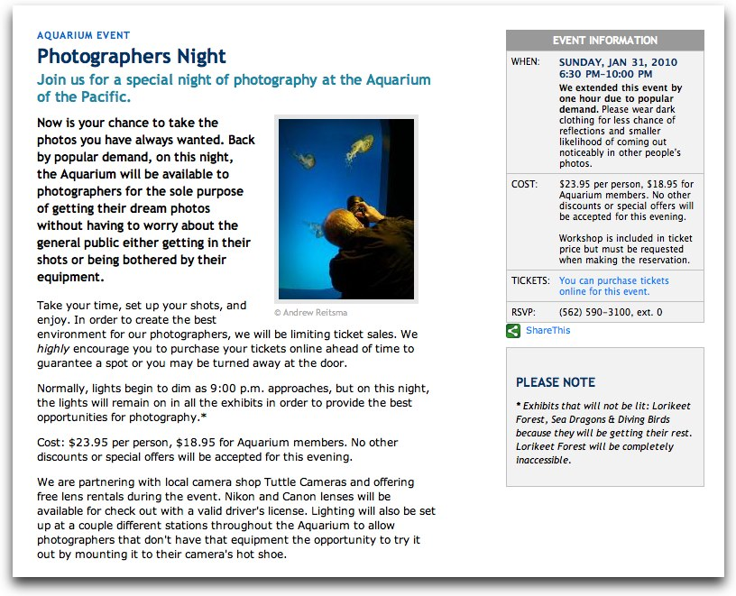 Photographers Night at Long Beach Aquarium    If I can't make it to Mammoth that weekend, I will be here instead. They're offering Free lens rentals onsite!