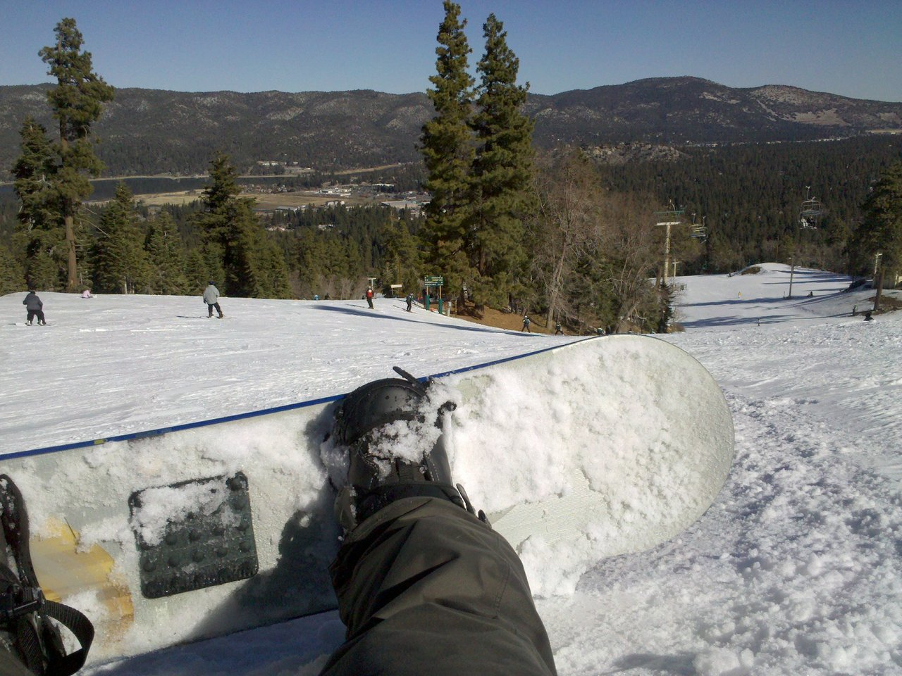 68 degrees. big bear. snowboarding jacketless.