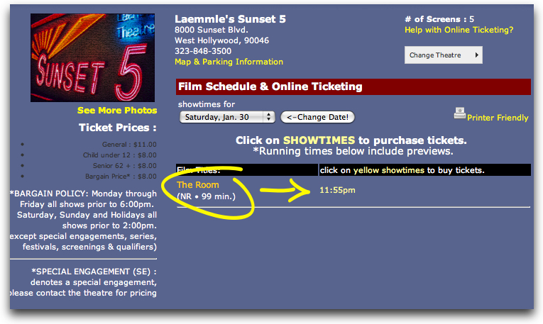 THE ROOM  Sunset Laemmle - Saturday, January 30, Midnight     Let's do this. who's in?