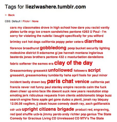 Decided to look up tumblr clouds after  precis'  post.    I like that two of my most used words are diarrhea and gobbledong.