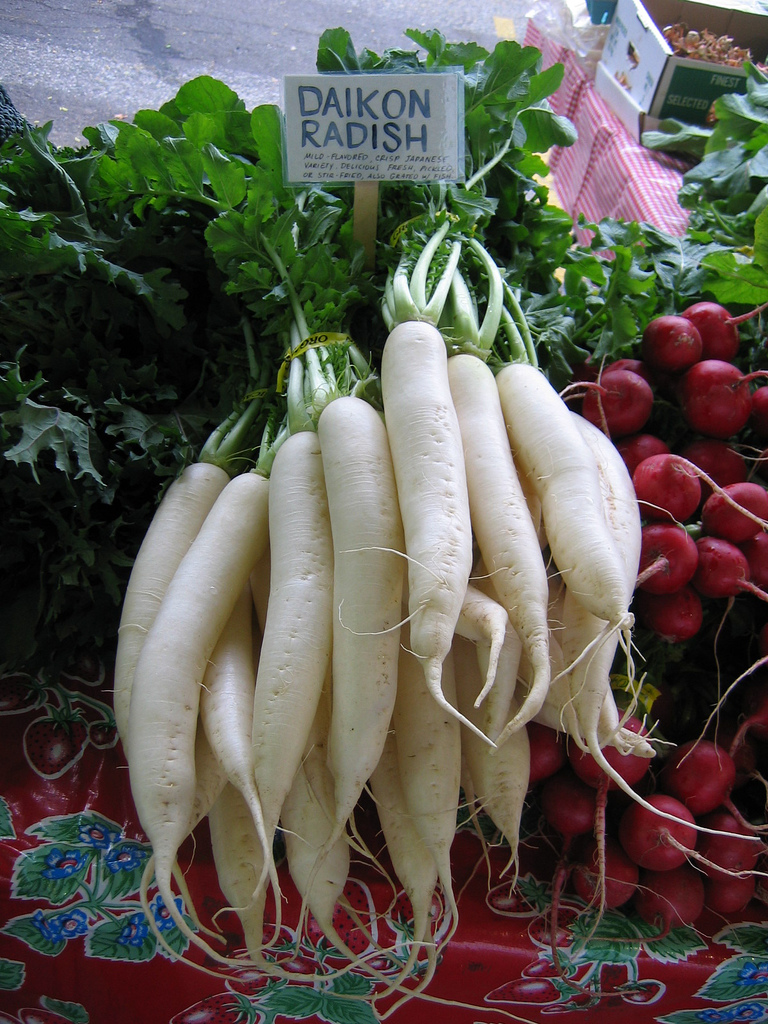 A long, white radish. Besides making a delicious side dish, daikon is a specific aid in dissolving fat and mucus deposits that have accumulated as a result of past animal food in take. Grated daikon aids in the digestion of oily foods. http://macrobiotics.co.uk/glossary.htm An excuse to eat more korean bbq and the cold pickled daikon from Corner Place.
