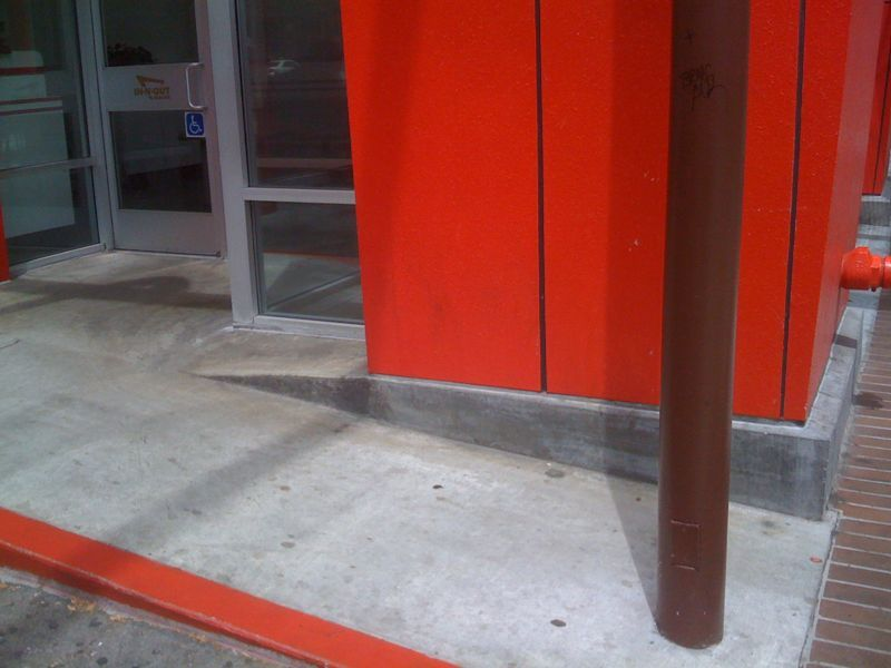 pauliophonic :    I just can't seem to figure out what's wrong with this wheelchair ramp.     I'm pretty sure this isn't ADA compliant.