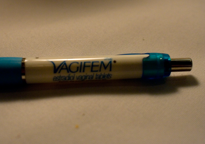 We ate dinner at JJ Steak House, a fancy pants restaurant in Old Town Pasadena tonight, and was given this pen to sign my check with. It was quickly snatched away after this picture.