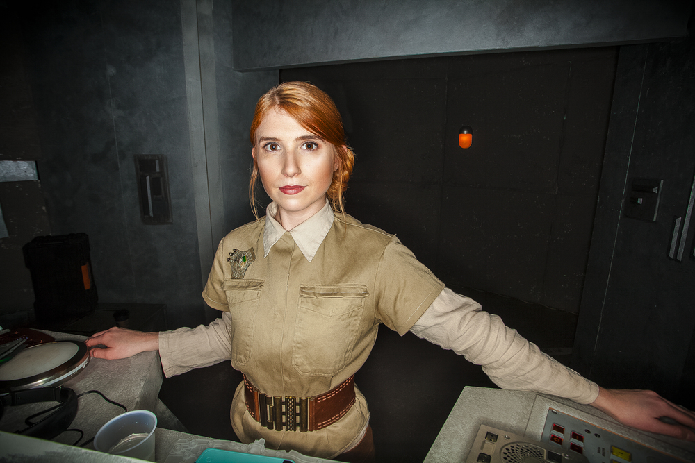 Emily Durrett on set in Galaxy War Room on Cracked.com