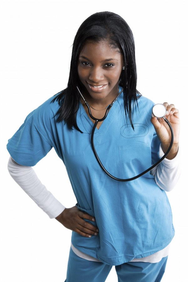 Black girl with stethescope