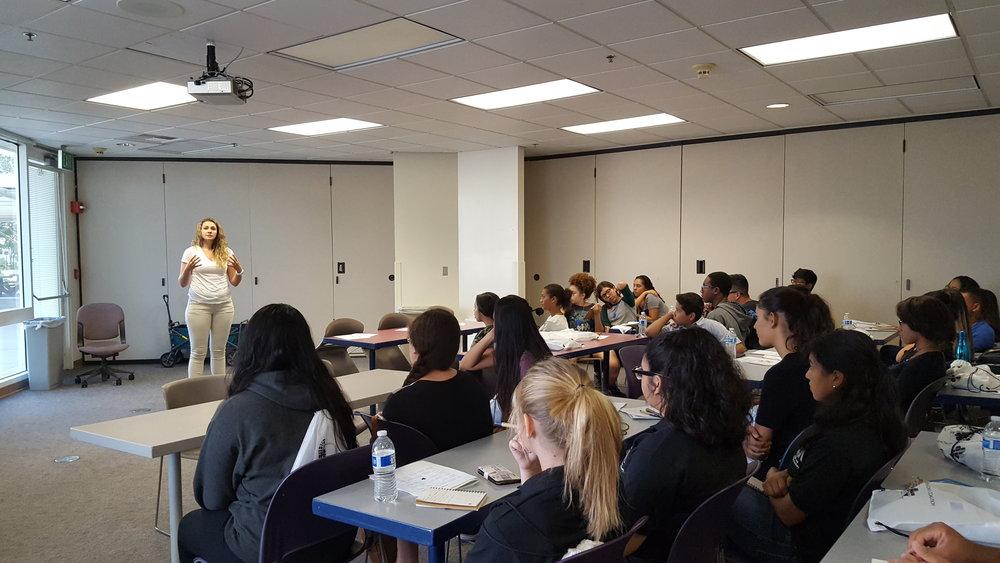 Raquel Bucanan with students