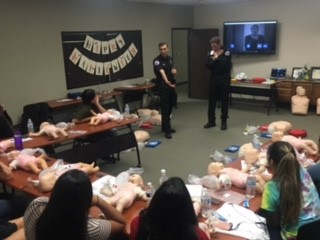 Getting ready for CPR training.