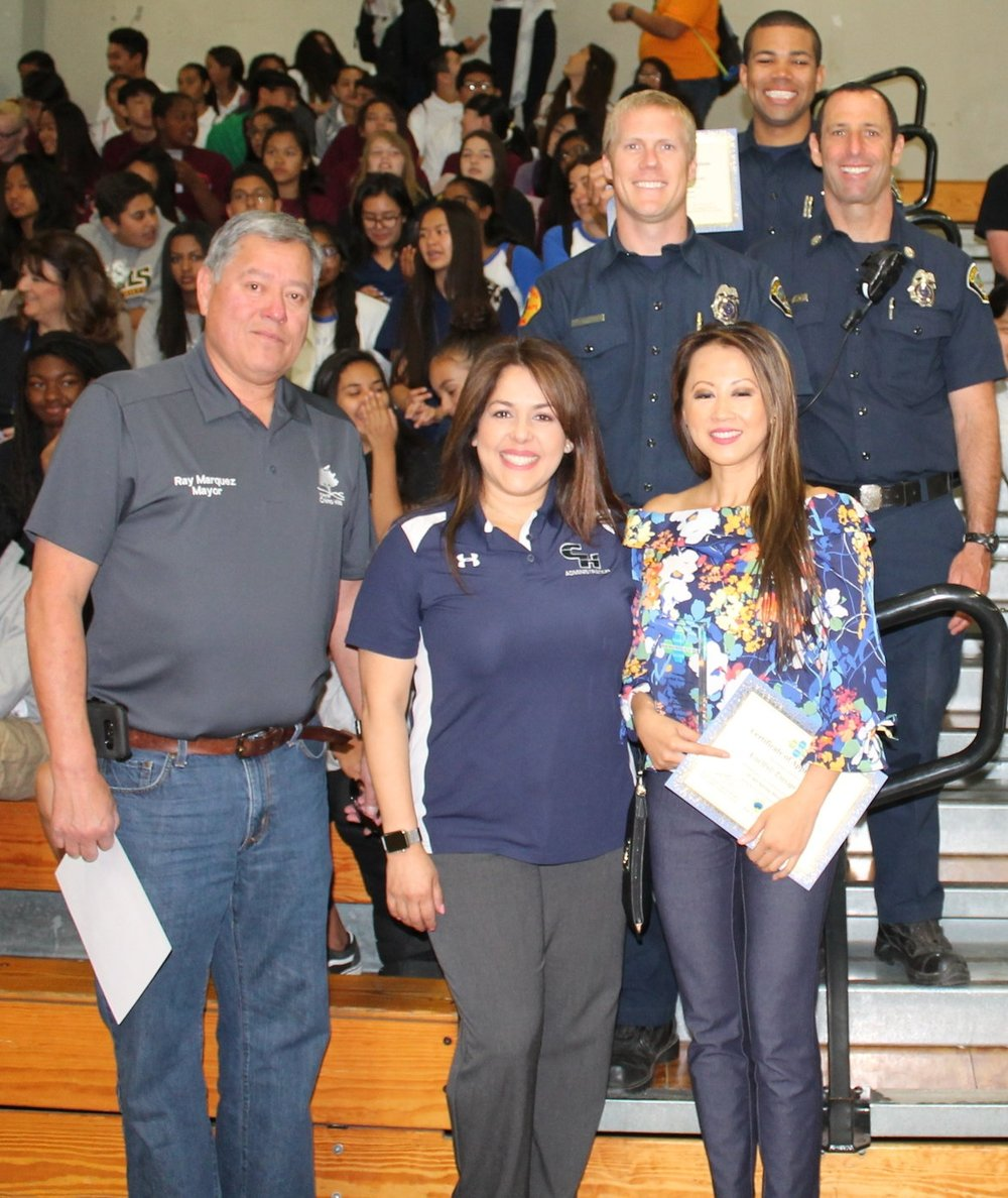 Thank you! - To Mayor Ray Marquez, CHHS principal Isabel Brenes, Patricia Chan of Live Well Therapy, Inc., and  Chino Valley Fire for showing your support!