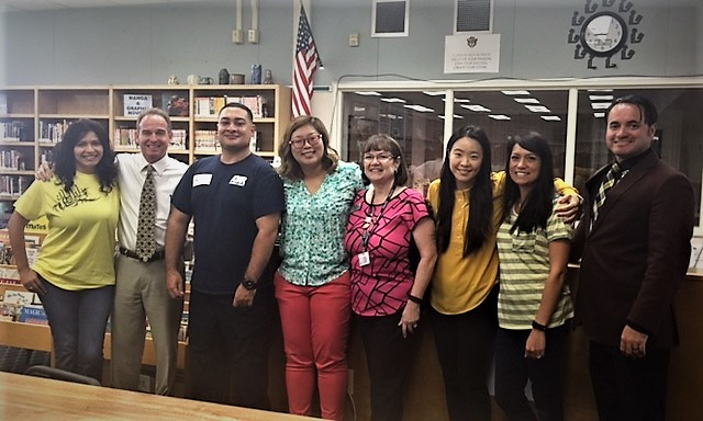 From Left to right:  Elizabeth Maciel, Jim Winn, Joey Ybarra, Jennifer Lim, Gloria Coder, Grace Chung, Araceli Anguiano, & Dr. Antonio Gonzalez (Corona High Principal).