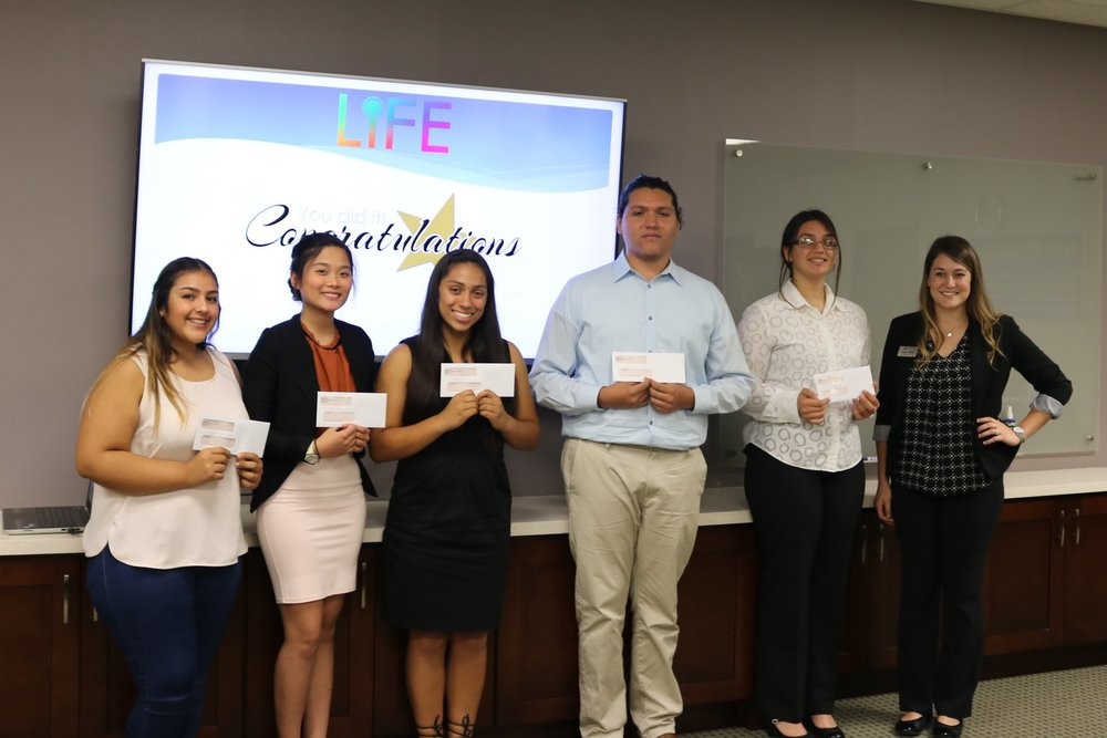 Educational scholarship recipients: Leidi bustos, Thuy Ho, Leah Serrano Julio Guzman, and Grecia Sepulveda, pctured with Alyse Reifer from IHPC.
