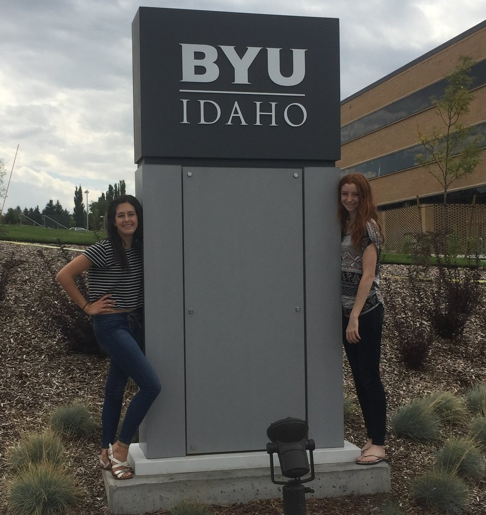 Public Health student, Maren Keehnan [left] poses with her best friend from high school - both young ladies are Freshmen at BYU.