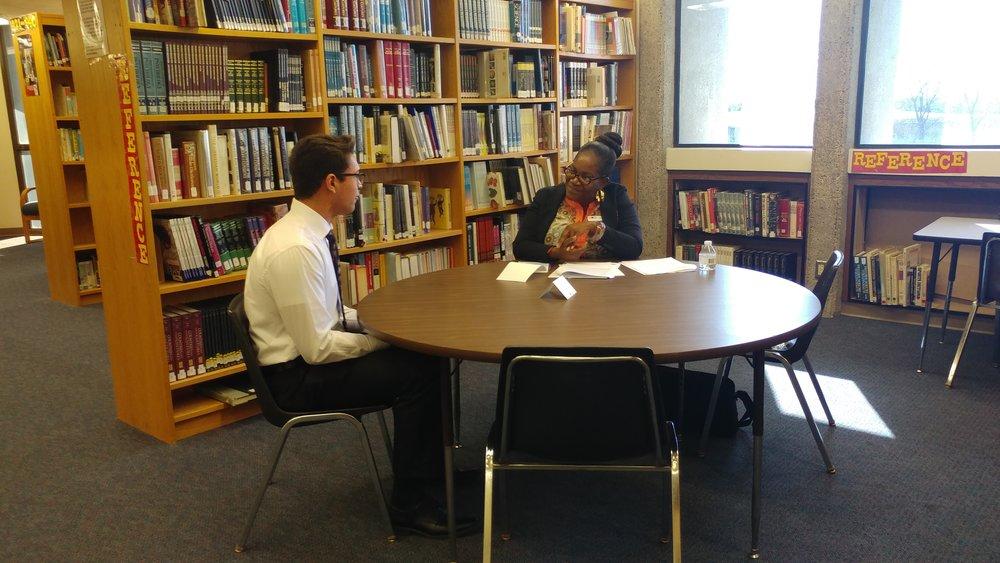 Tarnia Stanley interviews student.