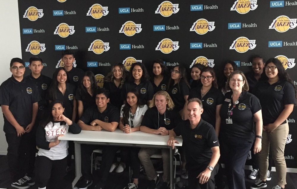 Group shot at the UCLA Health training center for the LA Lakers.