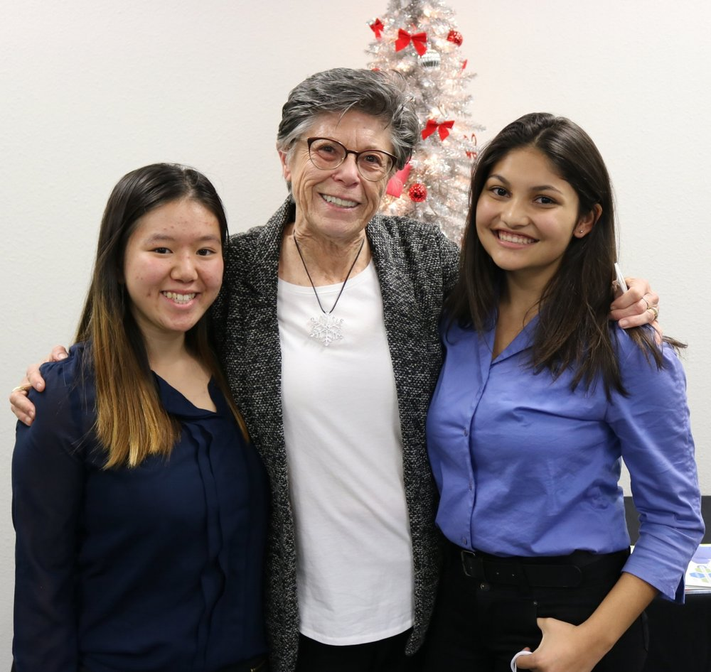 Jeanette Choi, pictured [LEFT] poses with Carol Allbaugh [CENTER] and fellow student ambassador Isabella Orozco [RIGHT].