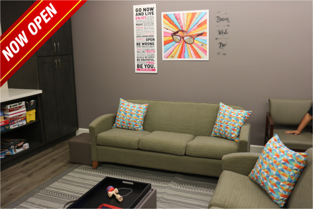 A rec room provides comfortable lounging and an art therapy center.