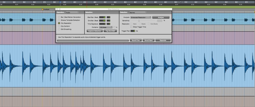"""""""Beat detective"""", fonction de Pro tools,  permet de découper et remettre sur le temps des pistes audio, en plus de """"remplir"""" les trous et d'ajouter les cross fades."""