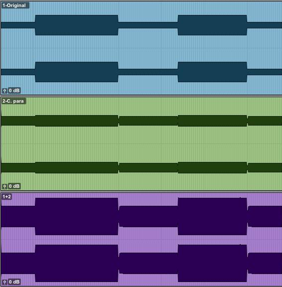 Exemple de compression parallèle: 1: Piste originale non compressée. 2: Compression parallèle de la piste #1. 3: Sommation des pistes 1 et 2. L'augmentation de volume dans les passages les plus faibles est plus importante que dans les passage les plus forts.