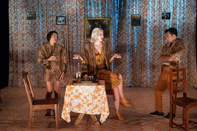Minor Character- Now at @publictheaterny thru Sunday  Photo by @darthstreisand  #costumedesign  #costumedesigner  #theater #publictheater  #minorcharacter #undertheradar #utr2019  #newsaloon  #unclevanya  #translations #trio  #patternsonpatterns #yelena  #alicetavener