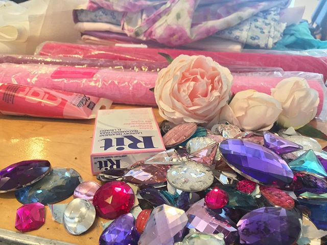 Suicide Forest process shot, made possible by @materialsforthearts  #suicideforest #bushwickstarr #costumedesign #costumedesigner #theater #newwork #newplay #gems #roses #sparkle #pastels