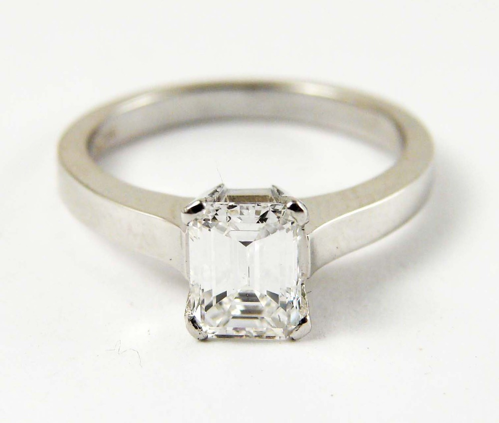 1.25ct emerald cut diamond center stone, 18kt white gold, a modern twist to a classic look  Starting at $9500 for this stone size and VS clarity FG colour   Can be customizable with any stone, size, metal etc.
