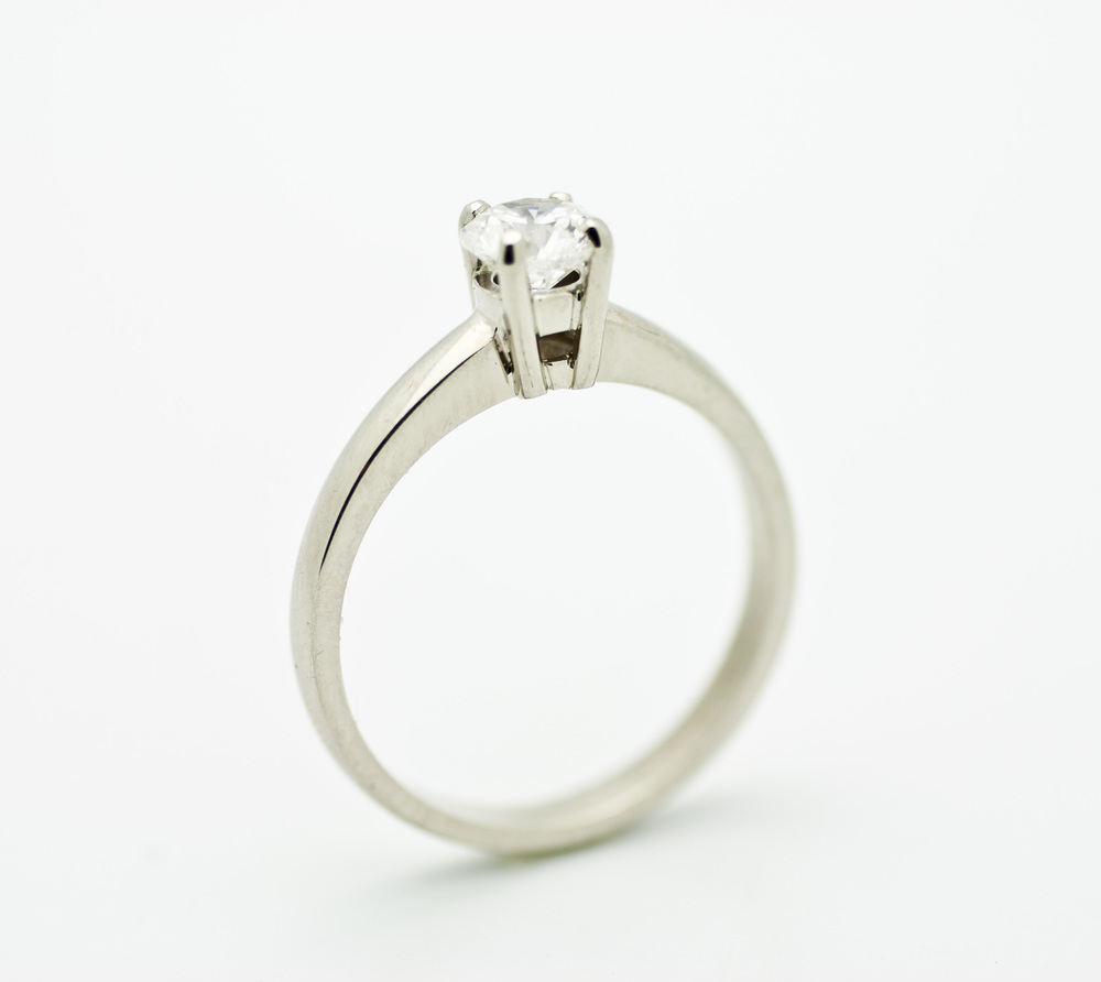0.48ct diamond center stone, 14kt white gold solitaire ring.  Starting at $2800 for this stone size and quality  Can be customizable with any stone, size, metal etc.