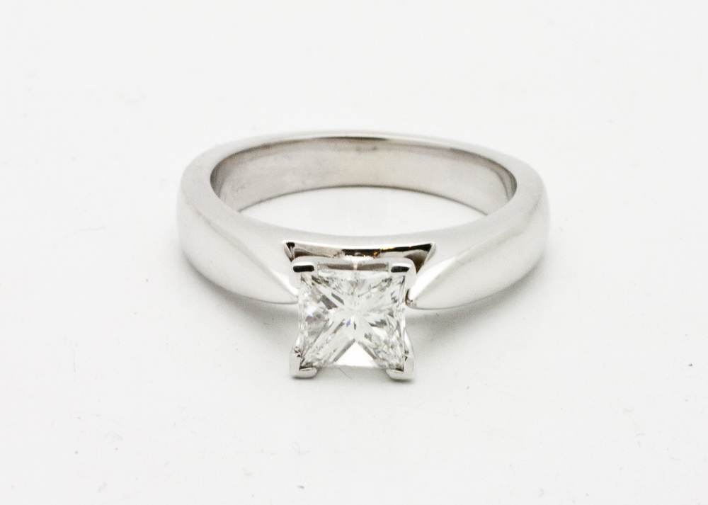 1.00ct princes cut diamond solitaire set in 18kt white gold.  Starting at $6200 for this size stone and VS-2 clarity G colour  Can be customizable with any stone, size, metal etc.