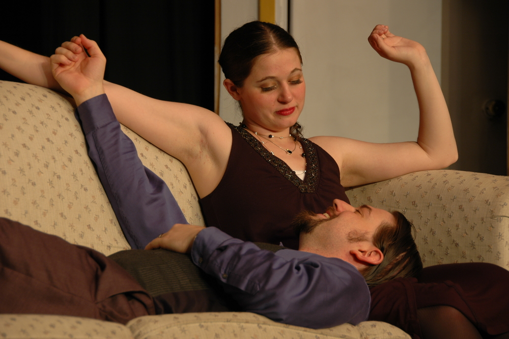 Jo Yadanza & Clinton McChesney performing  Hay Fever  on stage in 2012