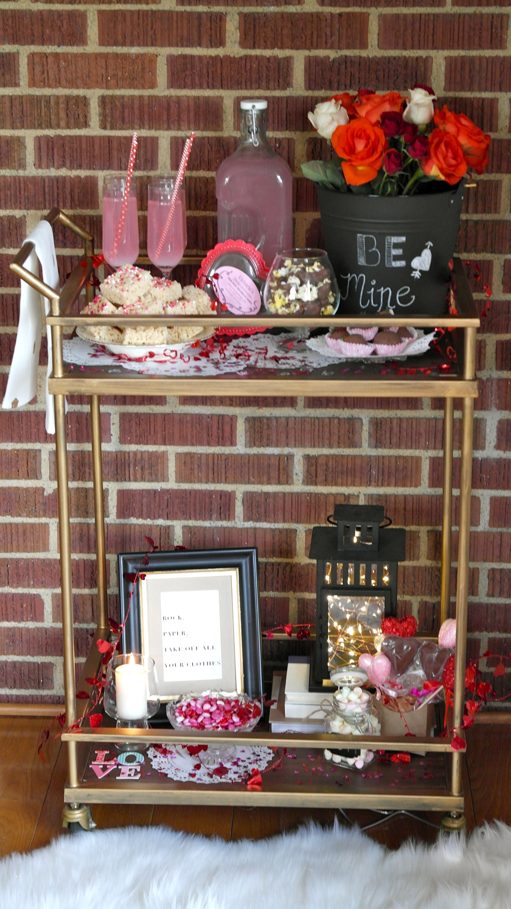 Gold Valentine's Day Bar Cart