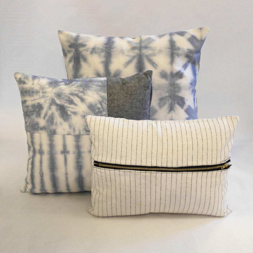 Blue and white pillow pile