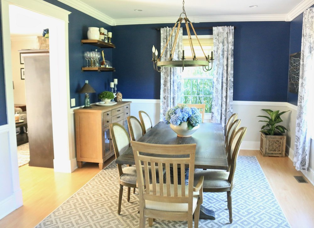 Transitional Navy Dining Room
