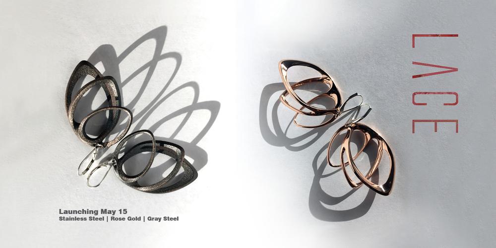 Shown left: Orbis light earrings in steel. On the right: Orbis light earrings in rose gold.