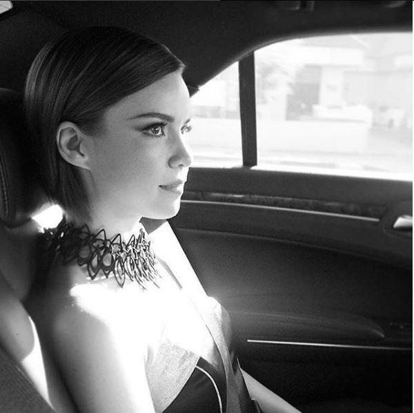 Ingrid Nilsen wears Stria Necklace in Black. Styled by Haley Roemen.