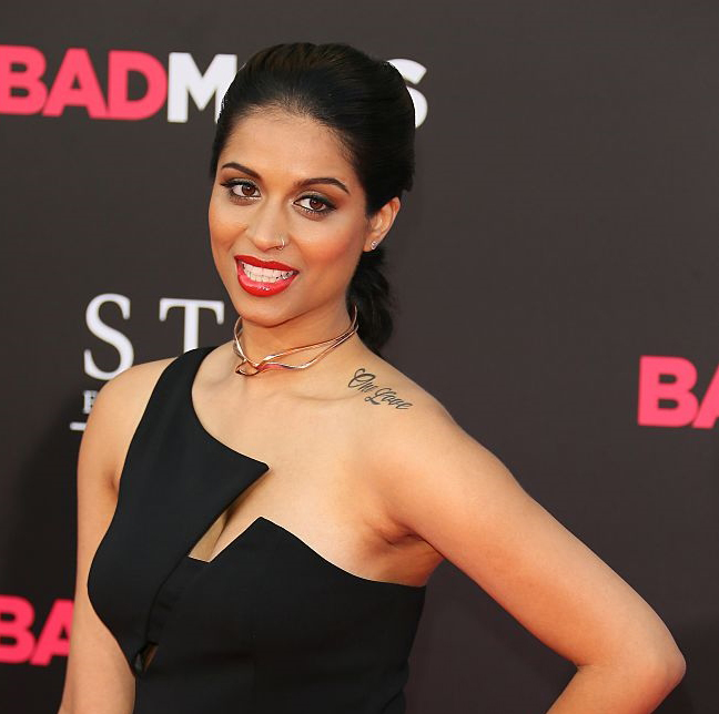 Lily Singh wears the interlocking Prelude and Interlude Chokers in 14K Plated Rose Gold at the premiere of Bad Moms in Los Angeles. Styled by Sophia Banks.