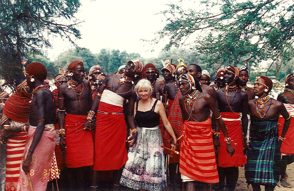 Celebrations after setting up the Bush clinic in Samburu. In the picture - Leanne with the villagers.