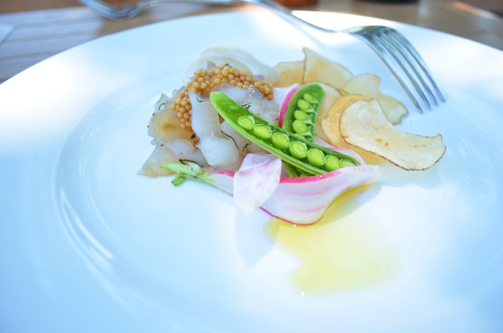 Chef James Wayman's Recipe for Monkfish Cured like Gravlax with Pickled Mustard Seeds, Crispy Potato Chips and Early Summer Vegetables