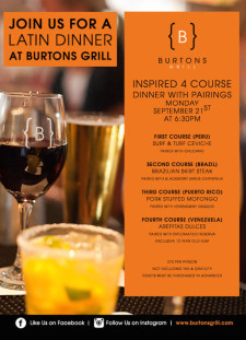 Latin Dinner at Burtons Grill