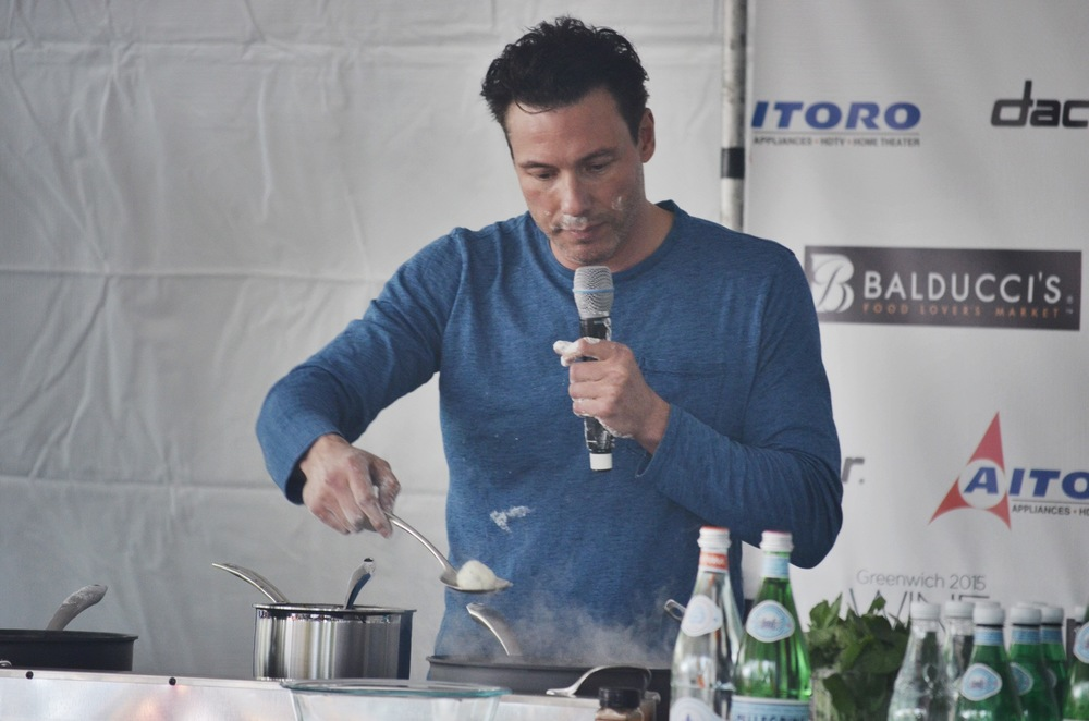 Chef Rocco Dispirito  showing us how to make a healthy dish from his cookbook