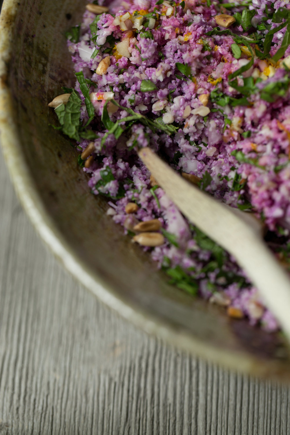 A modern twist on classic Middle Eastern dish of tabbouleh. Purple Cauliflower Tabbouleh Recipe on CTEatsOut.com