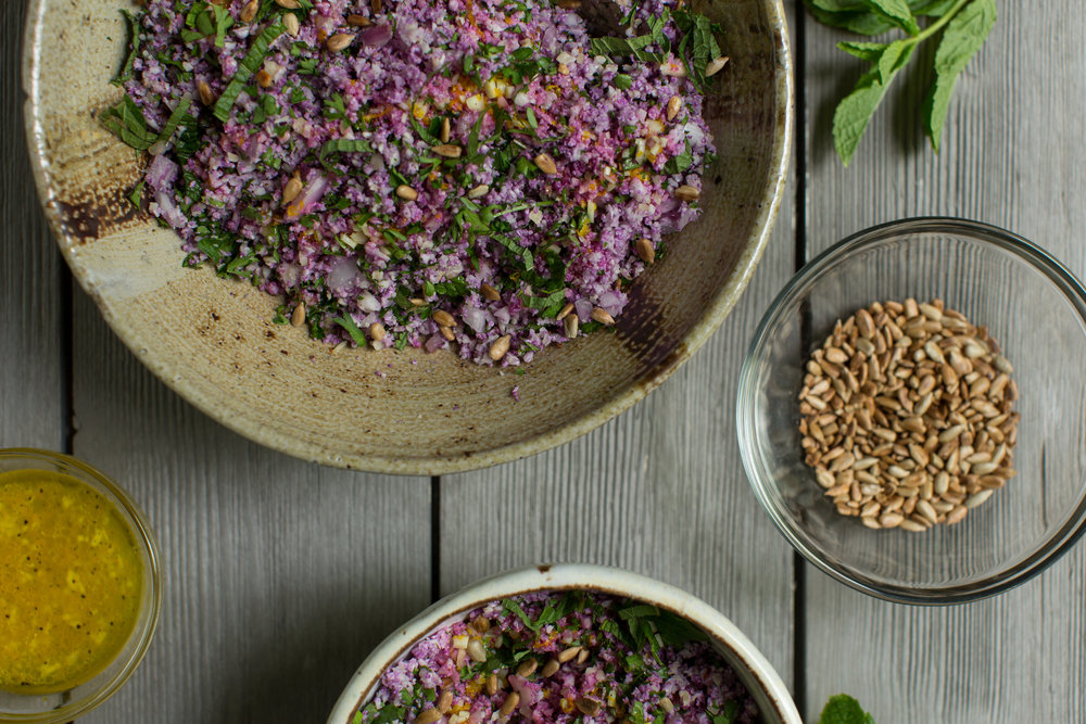 Vegetarian Recipe for Purple Cauliflower Tabbouleh by CTEatsOut.com