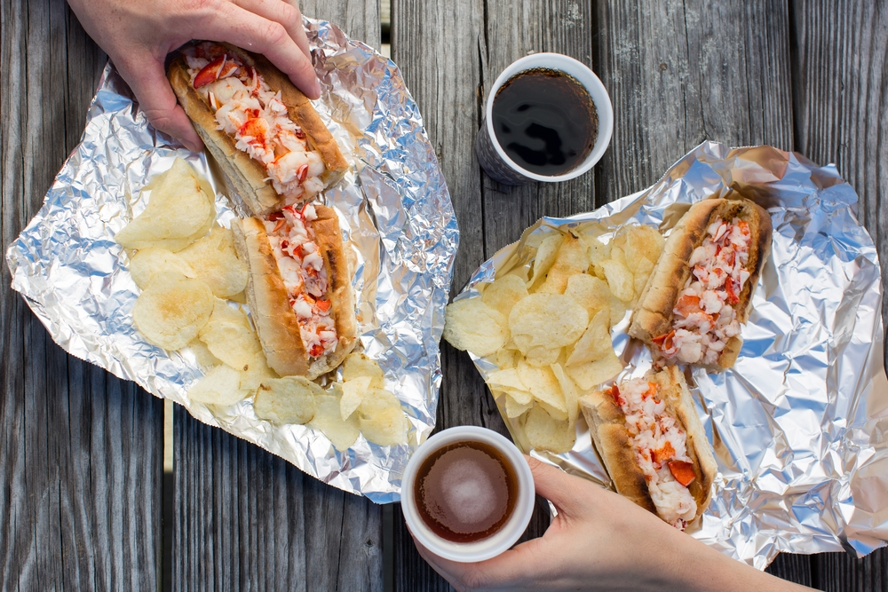 Lobster Landing's famous lobster rolls. Lobster Landing is located in Clinton, CT.